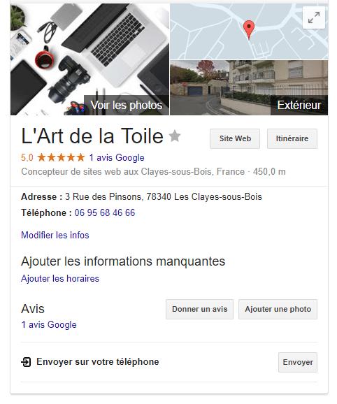 Fiche Google my Business L'Art de la Toile