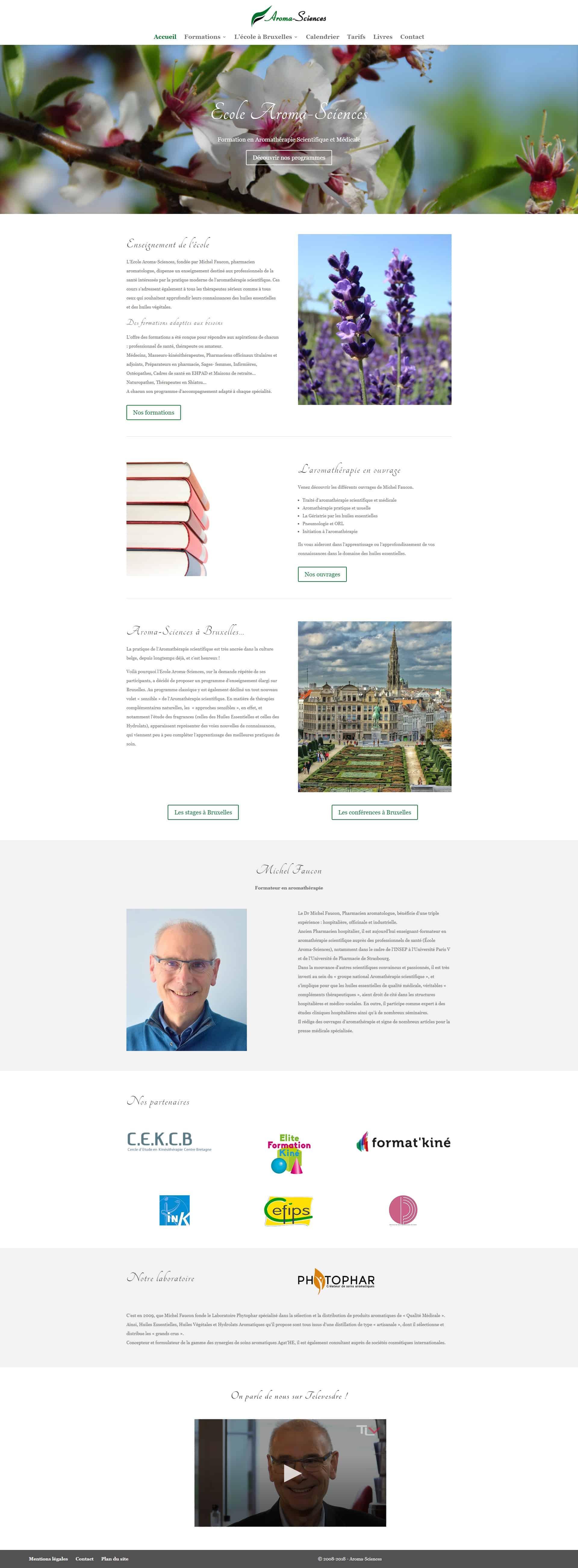 Site web Ecole Aroma-Sciences aromathérapie