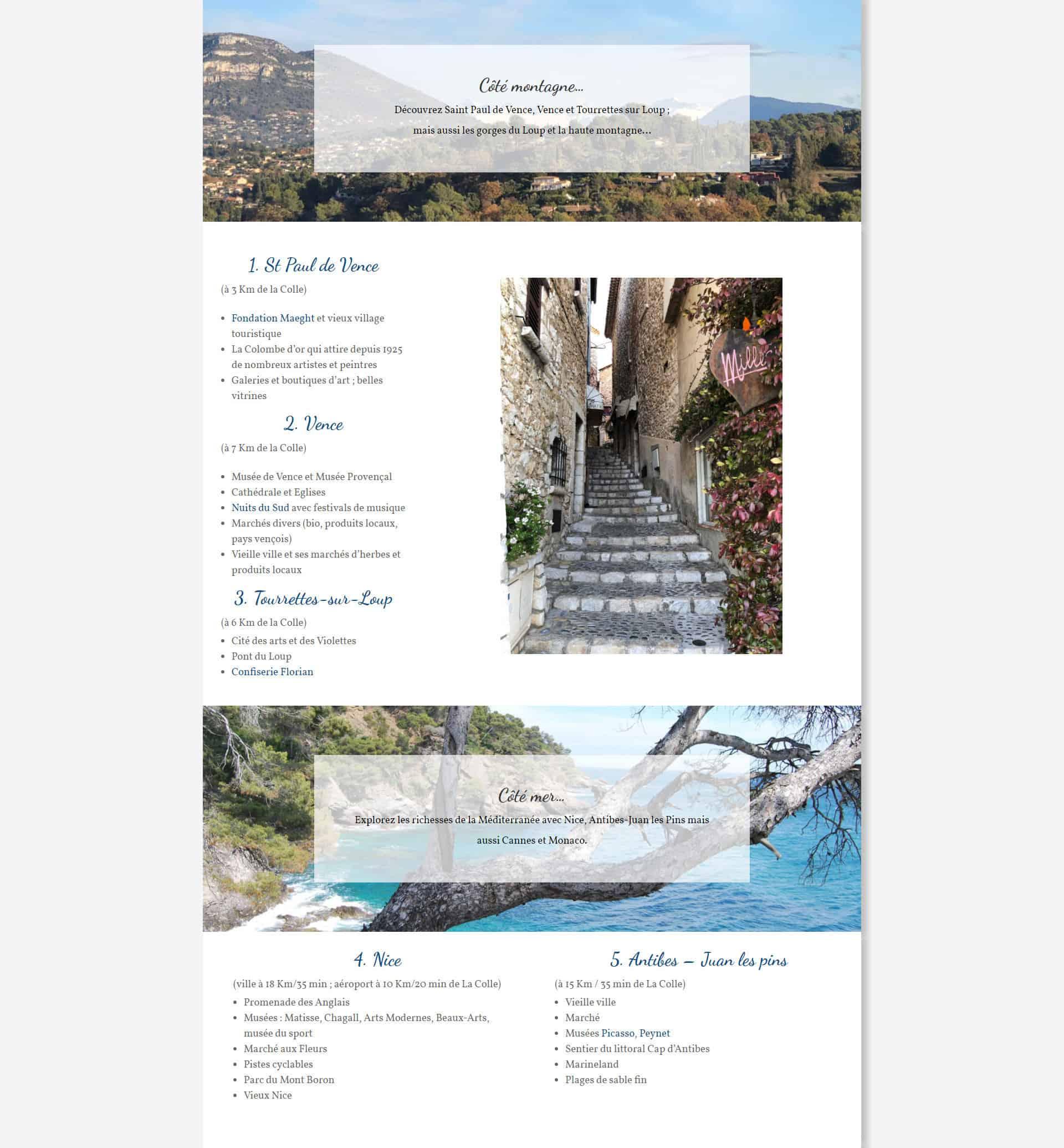 Site web La maison provençaloe de la Colle-sur-Loup