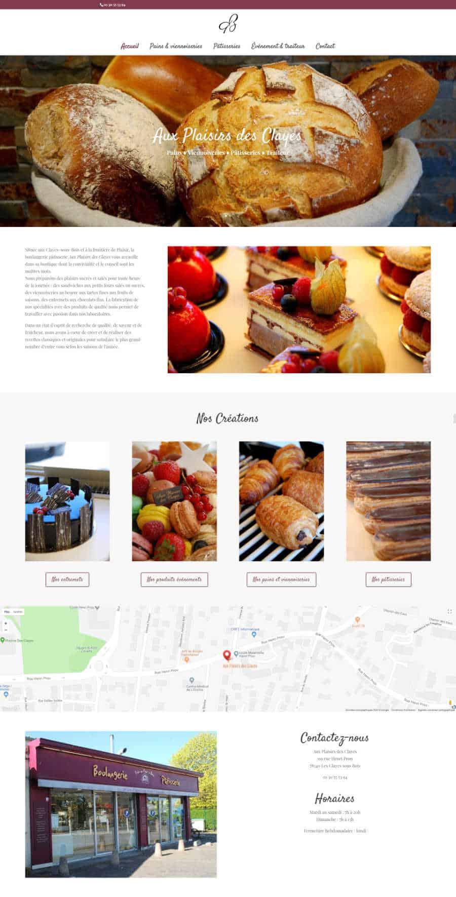 Aux Plaisirs des Clayes site web page d'accueil