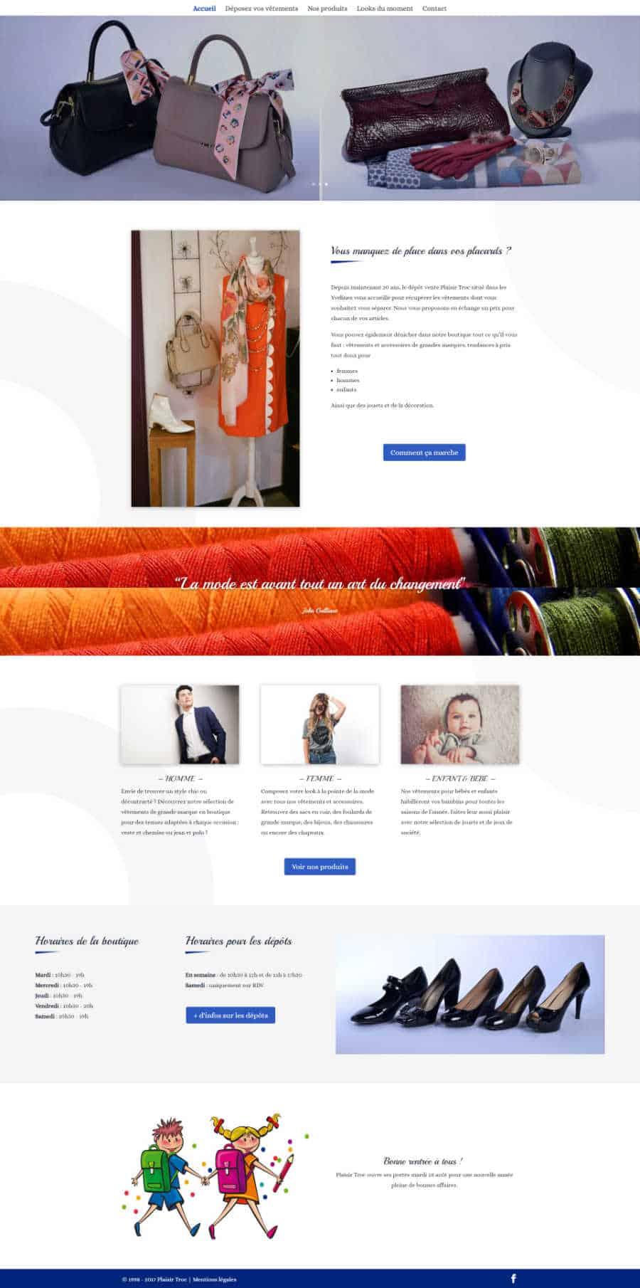 Plaisir Troc site web page d'accueil