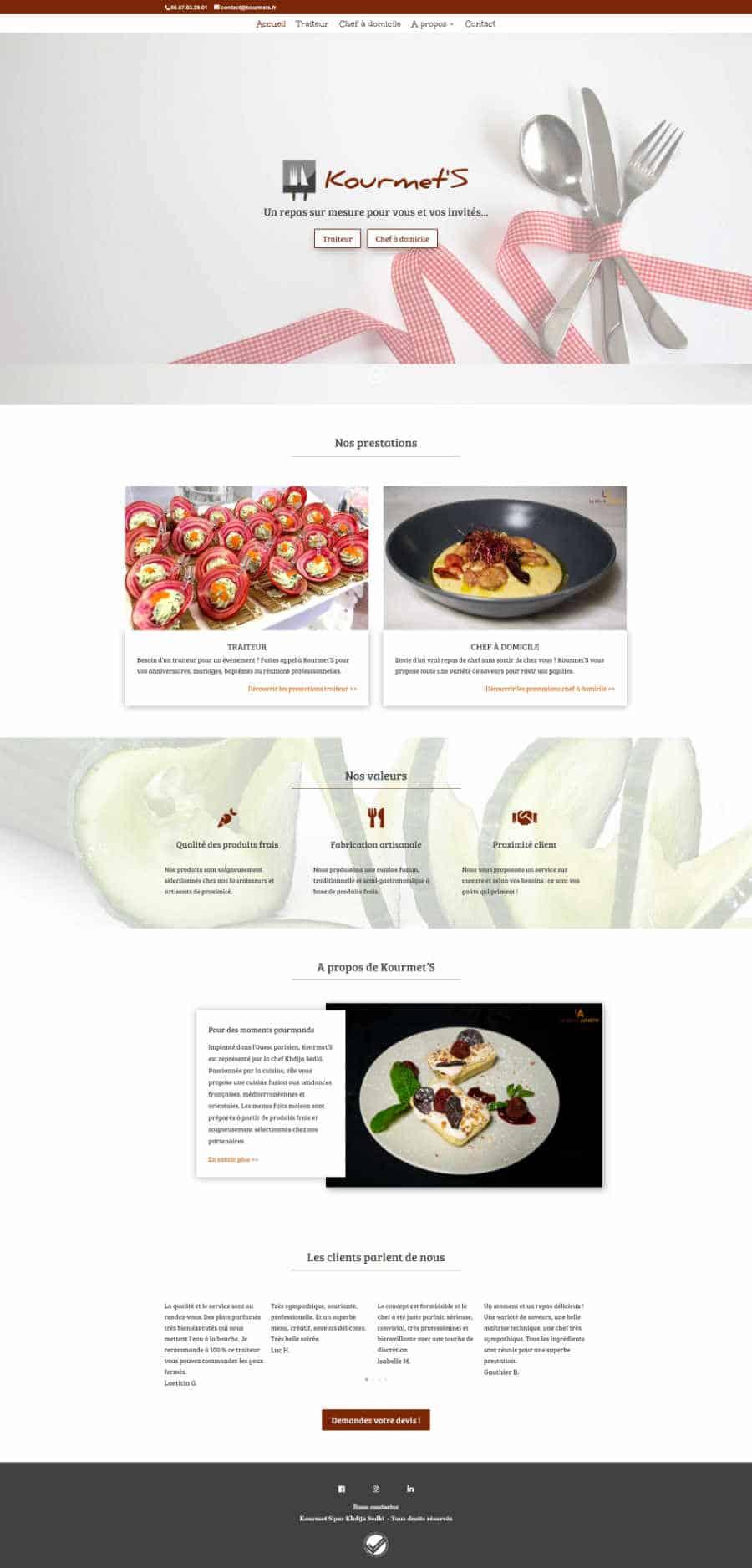 kourmet'S site web page d'accueil